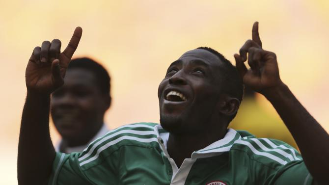 Nigeria Super Eagles' Ugonna celebrates after scoring Nigeria's second goal against Walya Antelopes of Ethiopia during international friendly match ahead of African Nations Championship, in Abuja