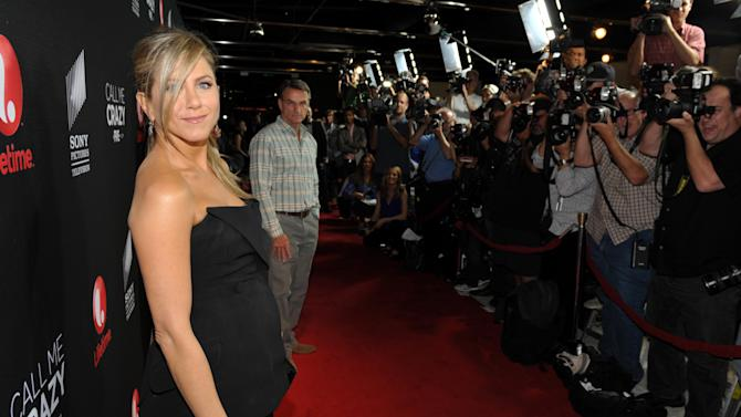 """Executive producer Jennifer Aniston arrives at Lifetime and Sony Pictures Television's premiere event  for """"Call Me Crazy: A Five Film"""" at the Pacific Design Center on Tuesday, April 16, 2013 in West Hollywood, Calif. """"Call Me Crazy"""" debuts on Saturday, April 20, 2013 at 8 PM on Lifetime. (Photo by John Shearer/Invision for Lifetime/AP Images)"""