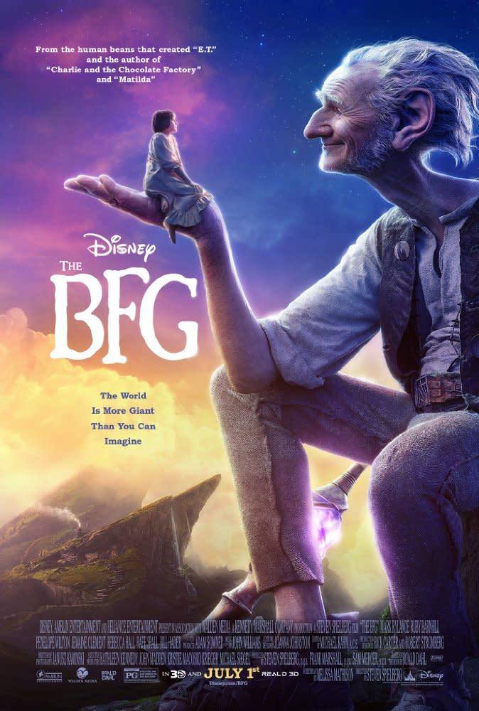 <p>九、《吹夢巨人》The BFG,2016:《吹夢巨人》是史蒂芬史匹柏耗時五年才拍成的電影,原作者羅德達爾是有名的兒童文學作家,史蒂芬史匹柏也最常唸他的床邊故事給自己小孩聽。電影帶有一股希望再創當年《E.T.外星人》風采的野心,可惜全球票房最終僅以一億八千三百萬美金作收,但片中生動豐富的特效表現仍然極其搶眼,影評人也普遍給予正面好評。(圖:電影海報/Walt Disney) </p>