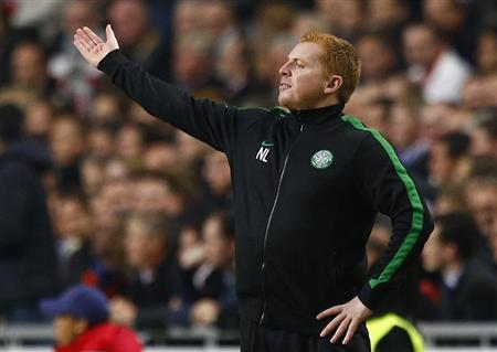 Celtic's coach Lennon reacts during their Champions League soccer match at Amsterdam Arena