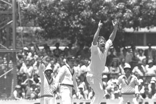Dec 1979 : Ian Botham of England is jubilant as he takes the wicket of Allan Border of Australia during the 2nd Test at Perth.  Mandatory Credit:  Adrian Murrell/Allsport UK