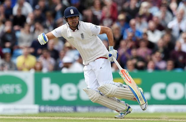 England's Alastair Cook runs on the second day of the second cricket test match between England and New Zealand at Headingley in Leeds, northern England, on May 30, 2015