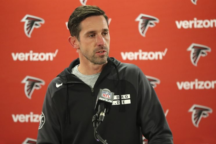 Atlanta Falcons offensive coordinator Kyle Shanahan is the last 49ers' head coaching candidate still in the running. (AP)