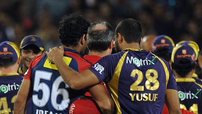Delhi Daredevils cricketer Irfan Pathan is consoled by brother and Kolkata Knight Riders cricketer Yusuf Pathan after the IPL Twenty20 first playoff cricket match between Delhi Daredevils and Kolkata Knight Riders at  Subrata Roy Sahara Stadium in Pune on May 22, 2012.  RESTRICTED TO EDITORIAL USE. MOBILE USE WITHIN NEWS PACKAGE    AFP PHOTO/Indranil MUKHERJEEINDRANIL MUKHERJEE/AFP/GettyImages