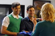 """This image released by NBC shows Andrew Rannells as Bryan, left, and Justin Bartha as David in a scene from """"The New Normal,"""" premiering Sept. 11, 2012 at 9:30p.m. EST on NBC. (AP Photo/NBC, Trae Patton)"""