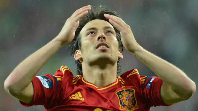 Spanish Midfielder David Silva Celebrates AFP/Getty Images