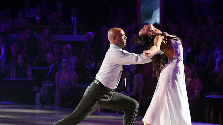 "Karina Smirnoff and J.R. Martinez perform on ""Dancing With the Stars."""