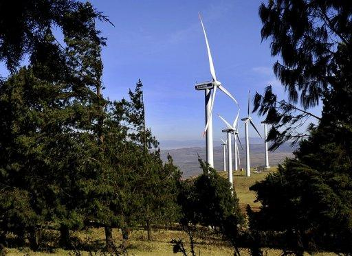 Wind turbines in the Ngong Hills, some 25 kms south-west of Nairobi, October 29, 2010, which are owned and run by Kenya's main power generating company KENGEN. Giant turbines churning in the wind are a rare sight in Africa -- but that will not be the case for long