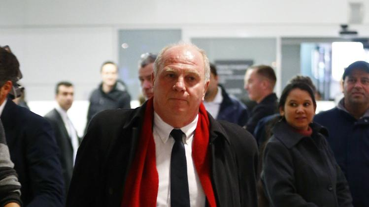 Bayern Munich President Hoeness walks at Munich's international airport