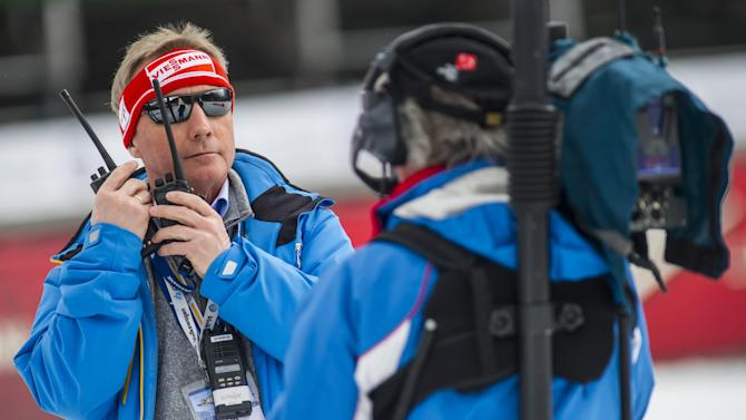 Walter Hoffer, director of Skijumping World Cup looks prior to final round of FIS Ski Flying World Cup 2011-2012 in Planica on March 18, 2012. AFP PHOTO / Jure Makovec (Photo credit should read Jure Makovec/AFP/Getty Images)