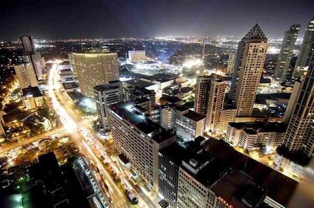 General view shows of Makati financial district of Manila, pictured at night on January 19, 2010. The Philippines makes its biggest bet this weekend in a high-stakes bid to join the world's elite gaming destinations, with the launch of a $1.2-billion casino on Manila Bay