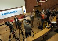 Reporters gather inside the Karolinska hospital in Stockholm early Thursday morning, Feb. 23, 2012. Crown Princess Victoria has been admitted Thursday morning expecting her first child. (AP Photo/SCANPIX, Jonas Ekstromer) SWEDEN OUT