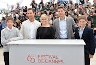 """(From L) US actors Tye Sheridan, Matthew McConaughey and Reese Witherspoon, director Jeff Nichols and actor Jacob Lofland pose during the photocall of their film """"Mud"""" presented in competition at the 65th Cannes film festival. Cannes moored up on the Mississippi on Saturday with """"Mud"""", a Huckleberry Finn-like tale about two boys, a fugitive, and the search for true love that wrapped up the race"""