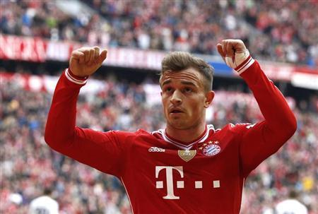 Bayern Munich's Shaqiri celebrates a goal during the German Bundesliga first division soccer match against Freiburg in Munich