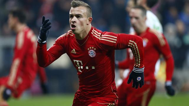 German Bundesliga  - Shaqiri's first league goal for Bayern rescues point
