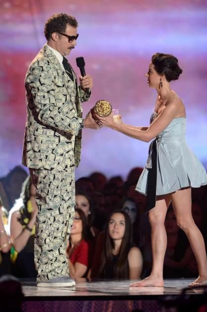 Will Ferrell and  Aubrey Plaza are seen onstage during the 2013 MTV Movie Awards at Sony Pictures Studios on April 14, 2013 in Culver City, Calif. -- Getty Premium