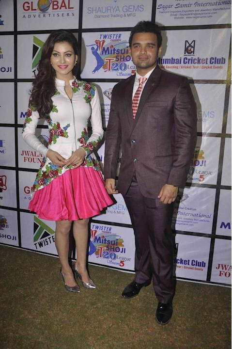 Mumbai: Actress Urvashi Rautela and actor Mahaakshay Chakraborty during the Mitsui Shoji T20 Cricket League 2015 organised by Sagar Samir International and Shaurya Jems in Mumbai, on April 27, 2015. (