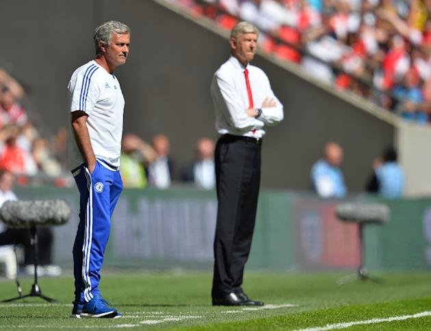 Chelsea's manager Jose Mourinho (L) and Arsenal's manager Arsene Wenger watch from the side during the FA Community Shield match at Wembley Stadium in north London on August 2, 2015