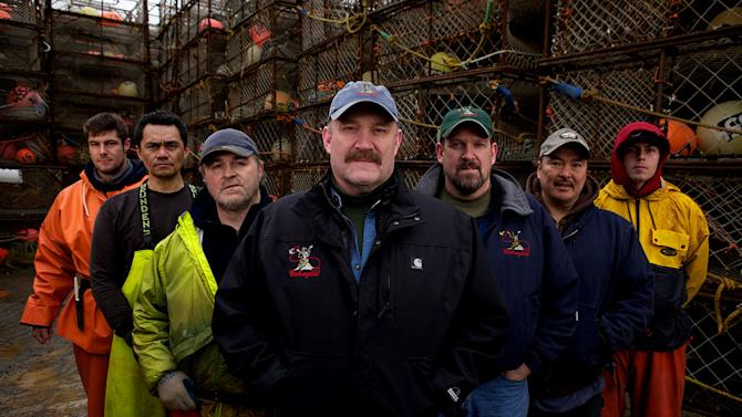 "Wizard crew (from L to R) Deckhand Danny Makai, Deckhand Freddy Maugatai, First Mate Gary Soper, Captain Keith Colburn, Relief Captain Monte Colburn, Engineer Lenny Lekanoff and Deckhand Lynn Guitard star in ""Deadliest Catch."""