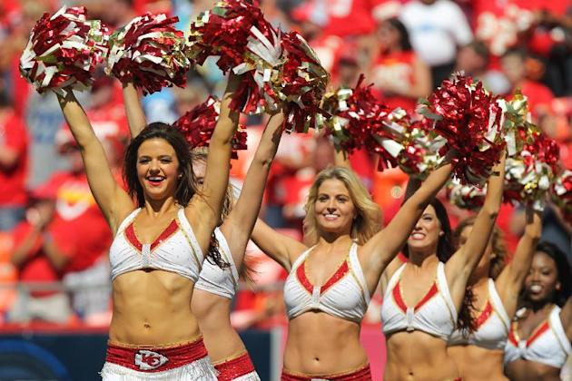 Kansas City Chiefs cheerleaders perform during a football game against the Tennessee Titans Sunday, Sept. 7, 2014, in Kansas City, MO. (AP Photo/Ed Zurga)