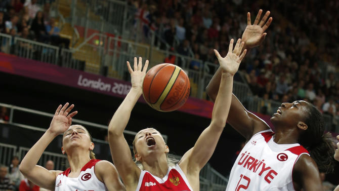 Russia's Korstin is guarded by Turkey's Vardarli and Hollingsvorth during the women's quarterfinal basketball match at the Basketball Arena in London
