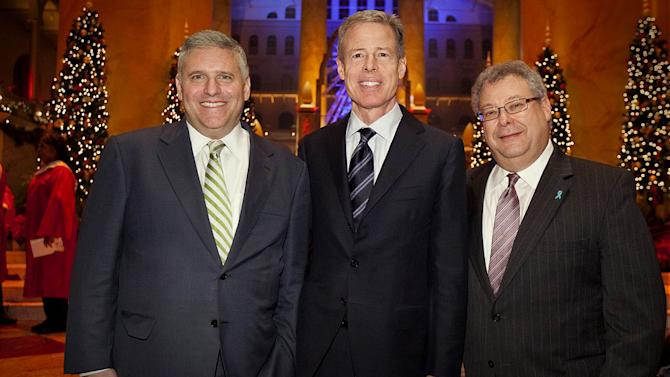 "Phil Kent, Chairman and CEO of Turner Broadcasting Sytem, Inc.; Jeff Bewkes, Chairman and CEO of Time Warner, Inc.; and Steve Koonin, President of Turner Entertainment Networks, attend TNT's ""Christmas in Washington."""
