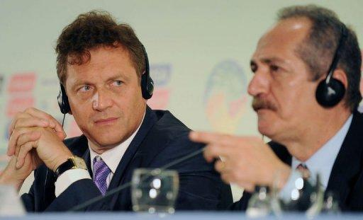 FIFA General Secretary French Jerome Valcke (L) and Brazilian Minister of Sports Aldo Rabelo