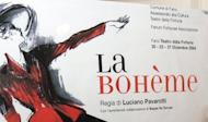 """A poster of the opera production """"La Boheme"""" in 2004, in which Americans Stephen Costello and Ailyn Perez will play the leading roles. The world of opera could soon be all aflutter with an American husband and wife team set to win hearts and take over as its new first couple"""