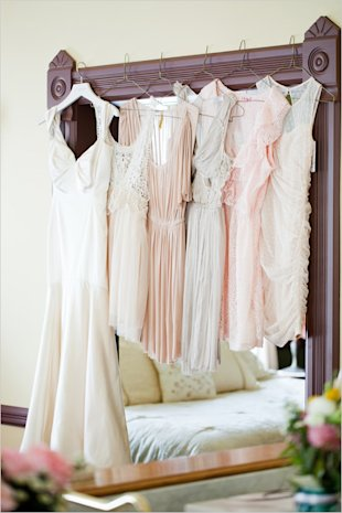peach pink and gray bridesmaid dresses