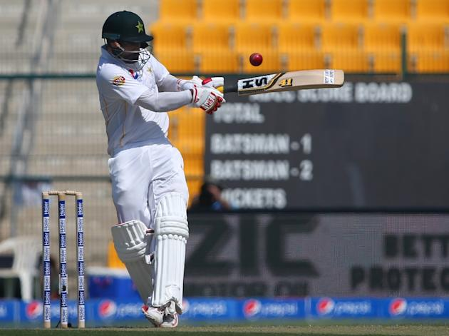 Pakistan opener Mohammad Hafeez plays a pull shot during the first day's play of the first Test against England at The Sheikh Zayed International Cricket Stadium in Abu Dhabi on October 13, 2015