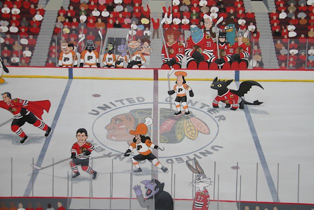 Blackhawks fan mural casts the flyers as cartoon villains for Blackhawks mural chicago