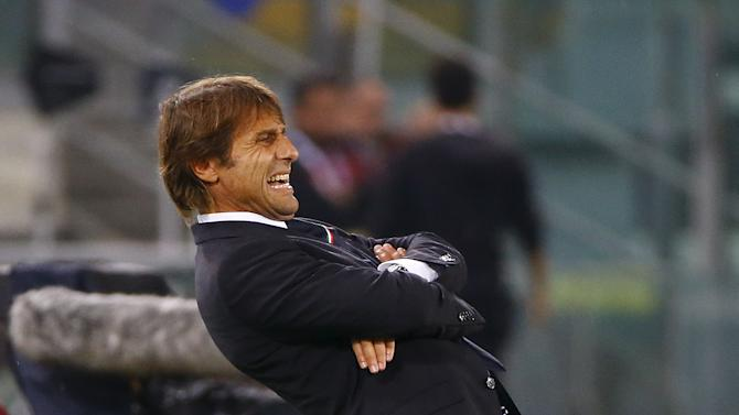 Italy's coach Conte reacts during the Euro 2016 group H qualifying soccer match against Norway at the Olympic Stadium in Rome