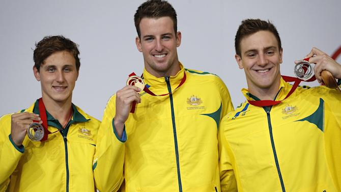 Commonwealth Games - Australia hog pool podium with 10 medals