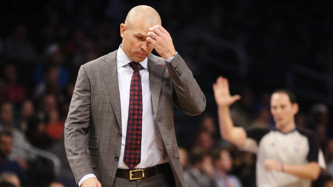 Brooklyn Nets head coach Jason Kidd reacts in the first quarter of a NBA basketball game against the Los Angeles Lakers at the Barclays Center, Wednesday, Nov. 27, 2013, in New York