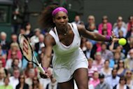Serena Williams during her Wimbledon women's singles final match against Poland's Agnieszka Radwanska on July 7. Williams would launch her Stanford campaign on Wednesday, giving her a bit of time to catch her breath after defeating Radwanska at the All England Club