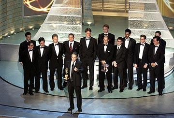 "Jon Stewart and the writers of ""The Daily Show"" Outstanding Writing for a Variety, Music or Comedy Program Emmy Awards - 9/19/2004"