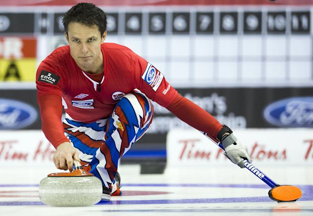 Norway skip Ulsrud delivers a rock against the U.S. during the fourth draw of the World Men's Curling Championships in Halifax