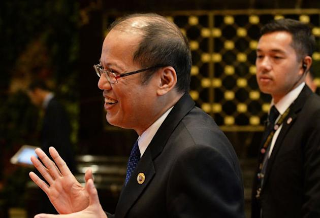 Philippine President Benigno Aquino is shown at the Association of Southeast Asian Nations (ASEAN) summit in Bandar Seri Begawan on April 25, 2013