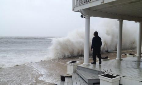 A wave crashes against the shore in Montauk, N.Y., as Hurricane Sandy made her way up the East Coast on Oct. 29.