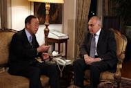 United Nations Secretary General Ban Ki-moon (L) talks with the Egyptian Foreign Minister Mohamed Kamel Amr (R) during their meeting in Cairo. Ban arrived in Cairo Monday on the first leg of a visit to support Egyptian-mediated efforts for a ceasefire between Israel and Hamas in Gaza
