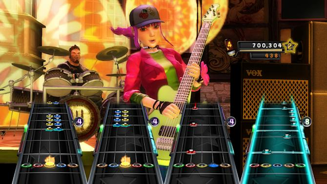 "In this video game image released by  Activision, a scene is shown from the game, ""Band Hero,"" is shown. A Los Angeles judge ruled Tuesday, May 29, 2012, that the band No Doubt can argue to a jury that gaming giant Activision misused their images in the game ""Band Hero"" and breached a contract and may have committed fraud by failing to tell that players could use their characters to sing other artists' songs. (AP Photo/Activision)"