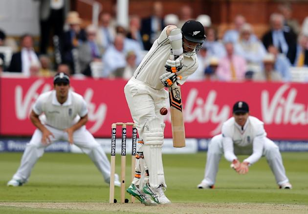 New Zealand's Tom Latham bats against England during the second day of the first Test at Lord's on May 22, 2015