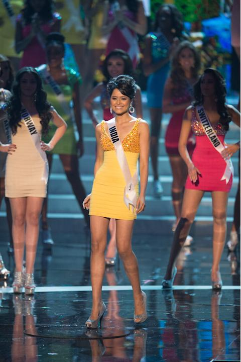 Miss Universe India 2012, Shilpa Singh, is announced as one of the top sixteen contestants in her Sherri Hill dress and Chinese Laundry shoes during this year's LIVE NBC Telecast of the 2012 Miss Univ