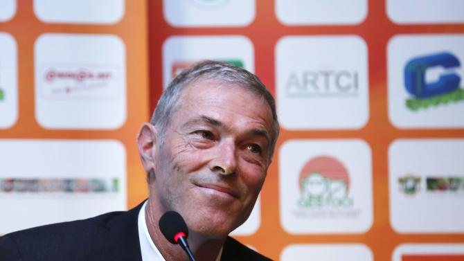 Michel Dussuyer of France, new soccer coach of African champions Ivory Coast,  attends news conference in Abidjan
