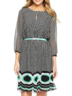Worthington Border Print Pleat Dress
