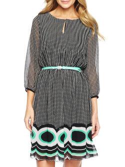 Worthington Border Print Pleat Dress