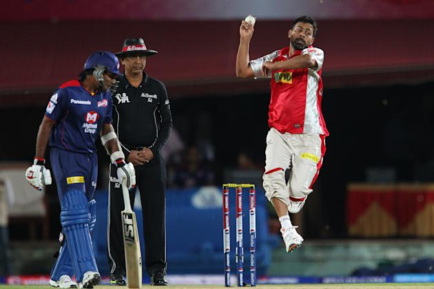 Praveen Kumar during match 67 of the Pepsi Indian Premier League between The Kings XI Punjab and the Delhi Daredevils held at the HPCA Stadium in Dharamsala, Himachal Pradesh, India on the on the 16th