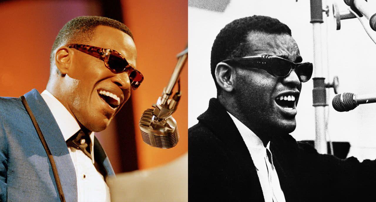 六、傑米福克斯(左)飾演雷查爾斯(右):同時奪得奧斯卡與葛萊美獎、身兼演員與歌手雙重身份的傑米福克斯,2004年在《雷之心靈傳奇》中飾演靈魂樂之父的盲人歌手雷查爾斯。精湛演技加上音樂才華,讓他的詮釋得以出神入化,不僅獲得了奧斯卡影帝大獎肯定,更贏得了本尊雷查爾斯的親自認證。(圖:Yahoo Finance)