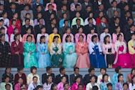 Under bright spring sunshine, bemedalled soldiers, women in colourful hanbok gowns and men in dark suits and ties packed Kim Il-Sung stadium on Saturday to hear fulsome praise for the family that has ruled since the nation's founding in 1948