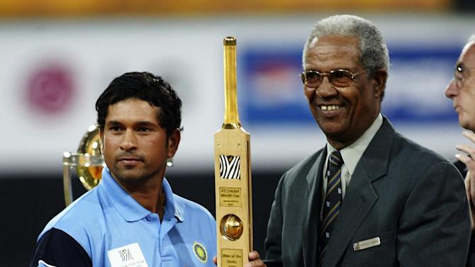 Sachin Tendulkar of India is presented the Man of the Series